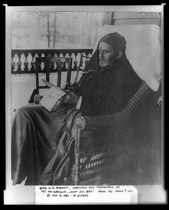 Grant at Mt. McGregor working on his memoirs. This picture was taken June 27th, 1885, less than a month before he passed away.