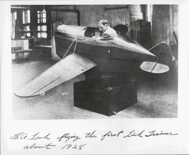E.A. Link in Link Aviation Trainer - LINK1991R3.14.tif - Edwin A. Link Jr. Collection - Binghamton University Libraries' Special Collections